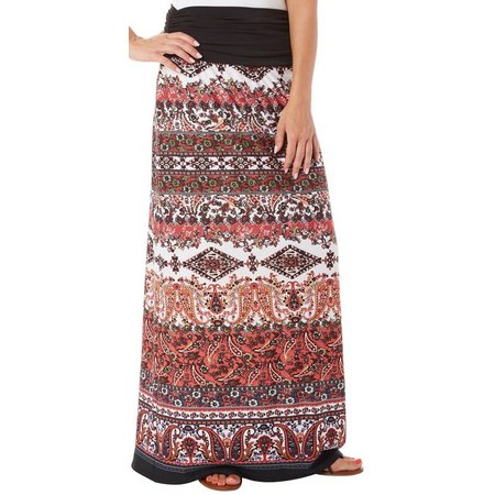 AGB Womens Paisley Print Ruched Waist Maxi Skirt