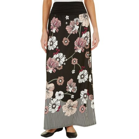 AGB Womens Floral Print Ruched Waistband Maxi Skirt