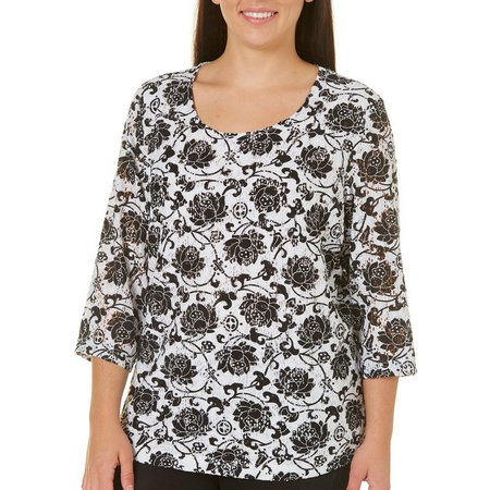 Cathy Daniels Plus Floral Printed Open Lace Top