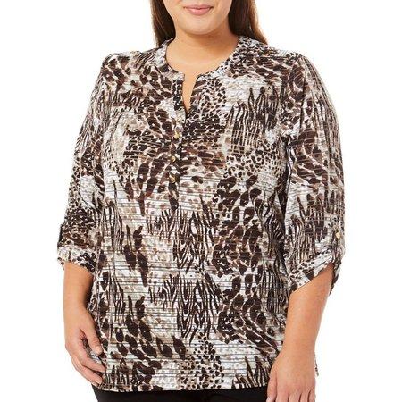 Cathy Daniels Plus Animal Print Shirt