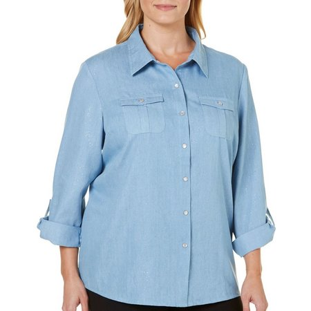 Cathy Daniels Plus Snap Front Glitter Top