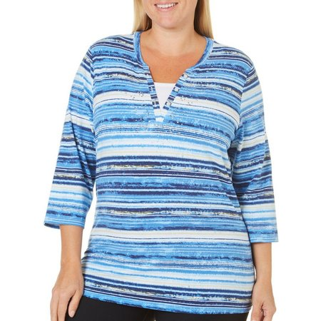 Erika Plus Embellished Stripe Split Neck Top