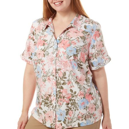 Erika Plus Alessandra Floral Print Roll Sleeve Top