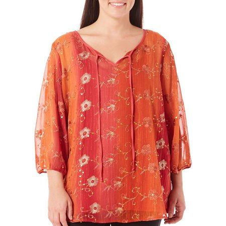 Adiva Plus Floral Embroidered Tie Neck Top