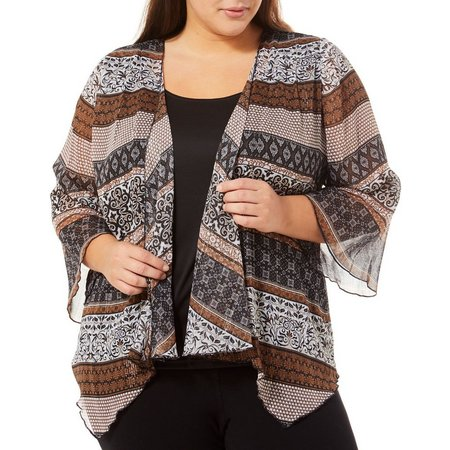 Sara Michelle Plus Striped Mixed Print Shimmer Duet