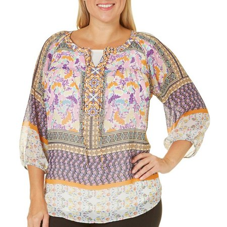 Figueroa and Flower Plus Asia Mixed Print Top
