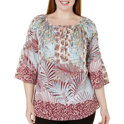 Figueroa and Flower Plus Pandora Palm Print Top