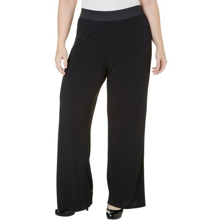 C'est La Vie Plus Pull-On Solid Palazzo Pants