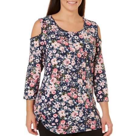 C'est La Vie Plus Ruched Cold Shoulder Floral