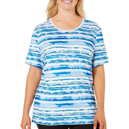Coral Bay Plus Energy Sketchy Stripe Print Top