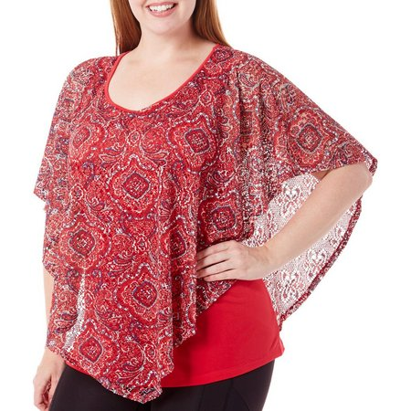 New! Coral Bay Plus Printed Open Weave Poncho