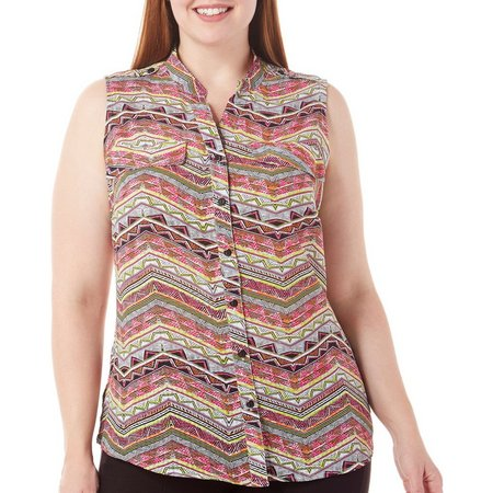 Coral Bay Plus Button Front Multi Finery Print