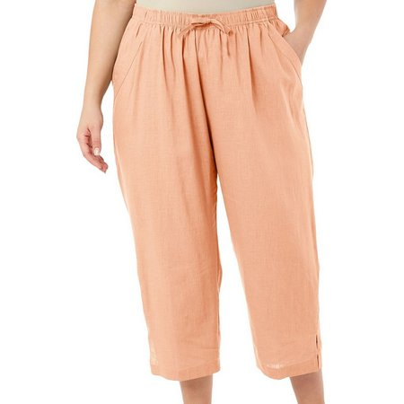 Coral Bay Plus Pull-On Linen Crop Pants