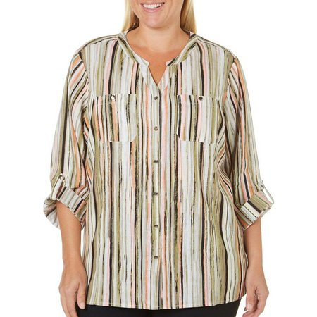 Coral Bay Plus Striped Button Front Double Pocket