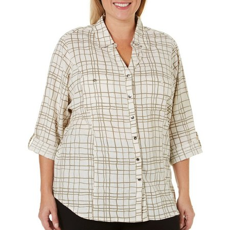 Coral Bay Plus Button Front Double Pocket Top