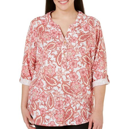 Coral Bay Plus Paisley Linen Top