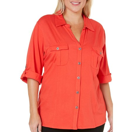 Coral Bay Womens Elbow Sleeve Button Front Shirt