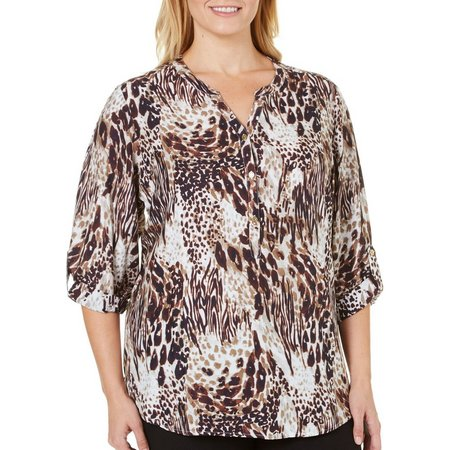 Coral Bay Plus Henley Animal Top