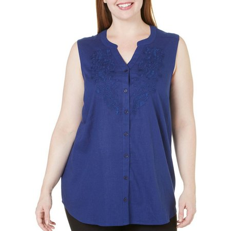Coral Bay Plus Natural Coast Emroidered Tank Top