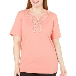Coral Bay Plus Escape Henley Embroidered Top