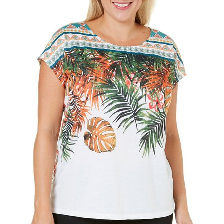 Coral Bay Plus Dolman Scoop Neck Printed Top