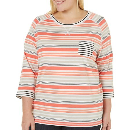Coral Bay Plus With Love Stripe Print Top