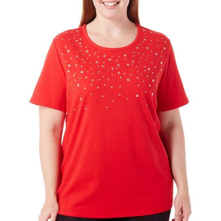 Coral Bay Plus Stars And Stripes Embellished Top