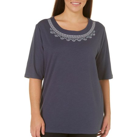 Coral Bay Plus Forever Sanibel Embroidered Top
