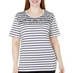 Coral Bay Plus Striped Stitch Print Top