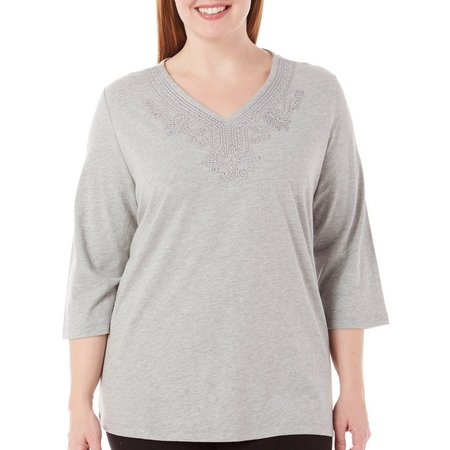 Coral Bay Plus Journey Embroidered Top