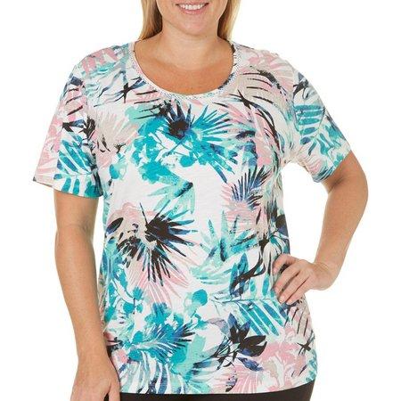 Coral Bay Plus Tropical Leaf Print Top