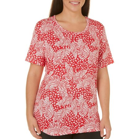 Coral Bay Plus Ocean Drive Butterfly Print Top