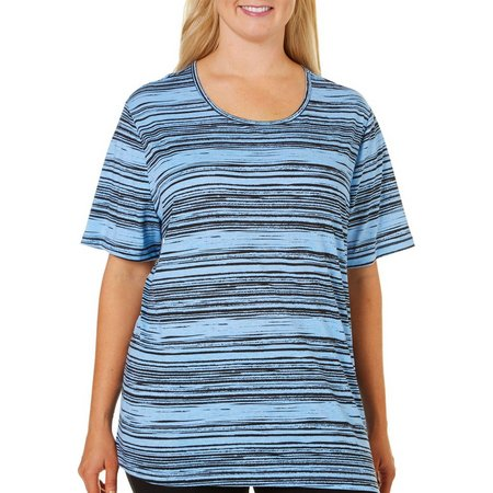Coral Bay Plus Scratchy Striped Scoop Neck T-Shirt