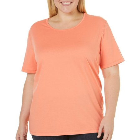 Coral Bay Plus Solid Round Neck T-Shirt