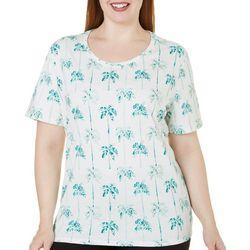 Coral Bay Plus Foil Palm Tree Print Top