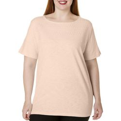 Coral Bay Plus Boat Neck Embroidered Top