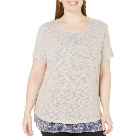 Coral Bay Plus Print Textured Shell Liner Top