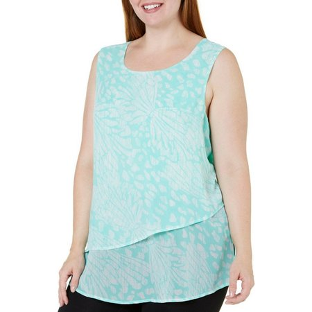 Coral Bay Plus Layered Swing Print Top
