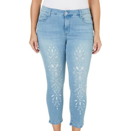 BANDOLINO Plus Selena Embroidered Denim Cop Jeans