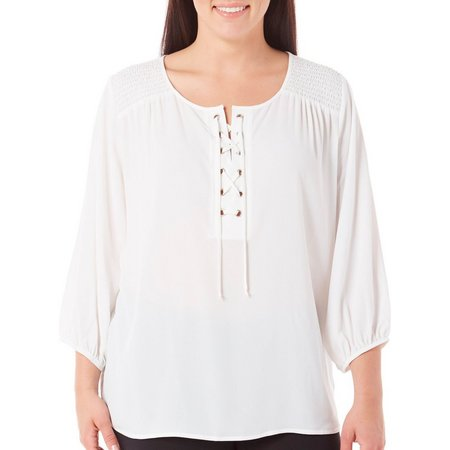 AGB Plus Solid Lace Up Elastic Sleeves Top