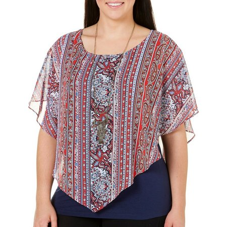 AGB Plus Mixed Paisley Popover Poncho Top