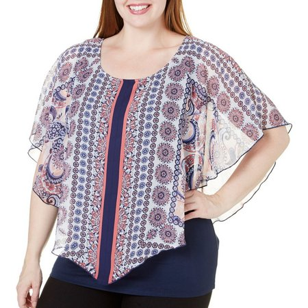 AGB Plus Popover Floral Print Poncho Top