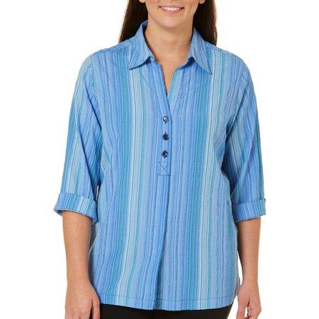 Alia Plus Textured Stripe Button Front Shirt