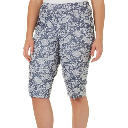 Alia Plus Floral Tech Stretch Skimmer Shorts