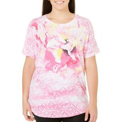 New! Alia Plus Hibiscus Print Top