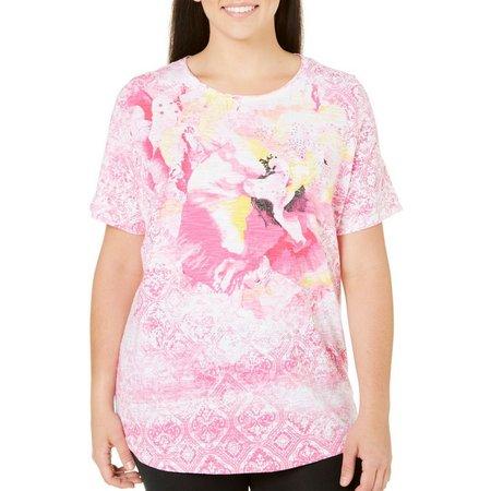 Alia Plus Hibiscus Print Top