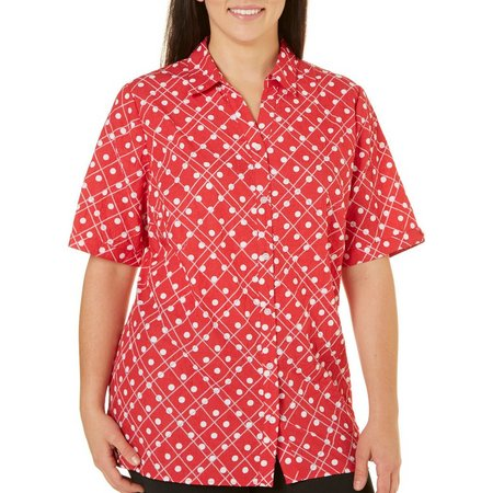 Alia Plus Woven Button Front Dot Top