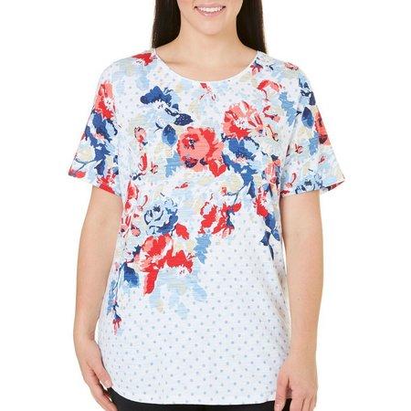Alia Plus Floral Dot Print Top