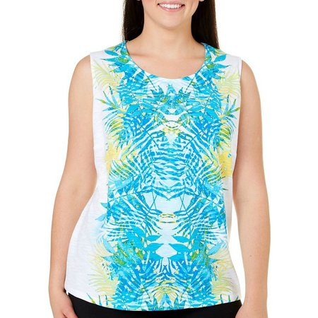 Alia Plus Leaf Overlay Print Tank Top
