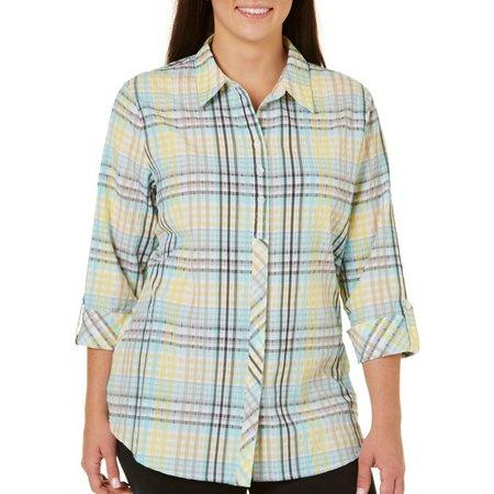 Alia Plus Plaid Textured Button Front Shirt